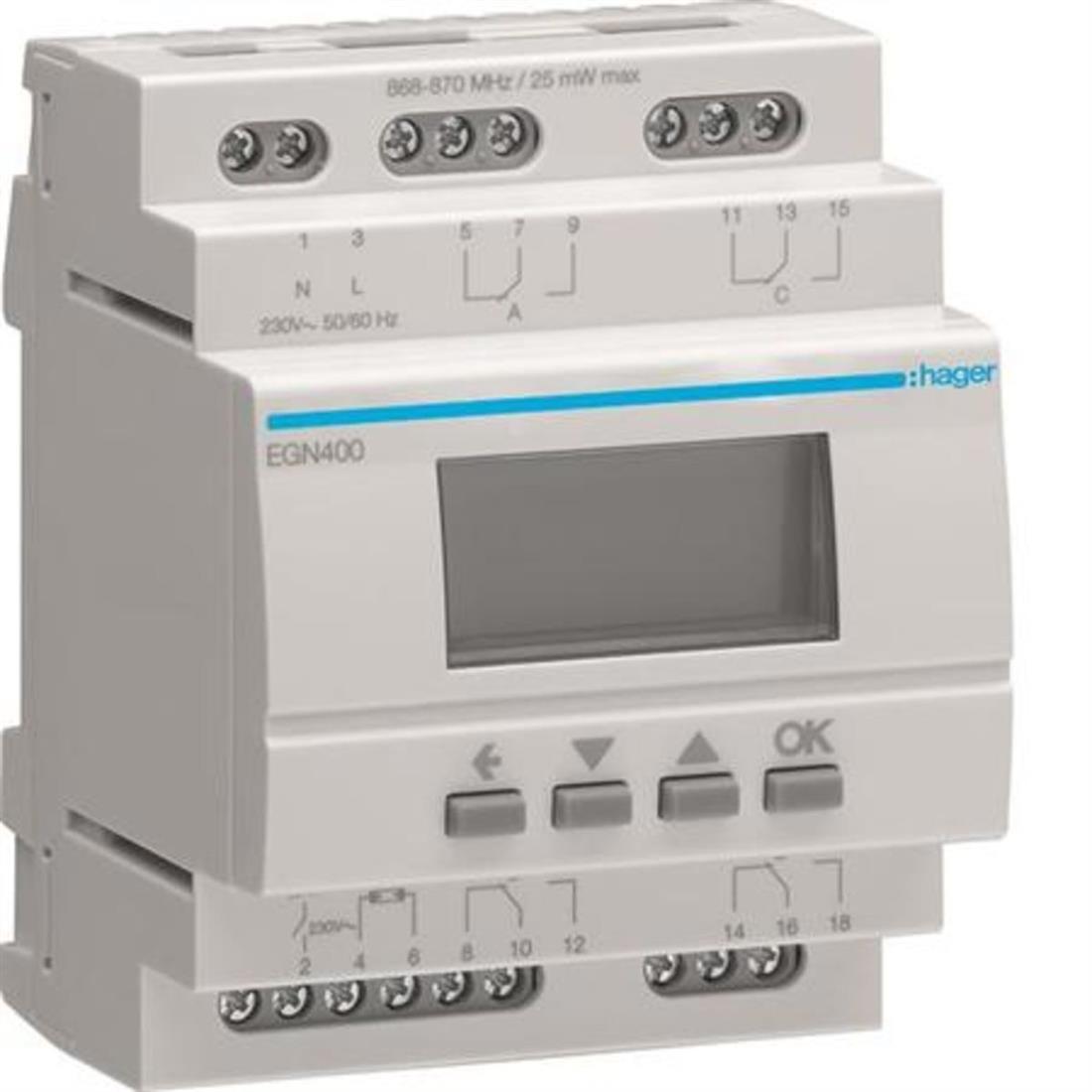 Hager digitale schakelklok multifunctioneel met bluetooth (EGN400)
