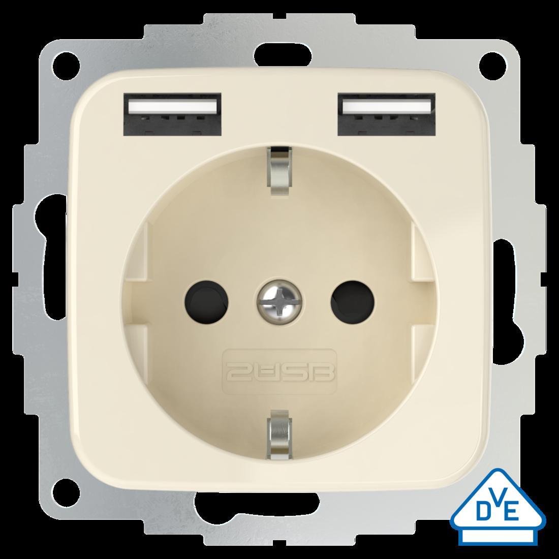 2USB universeel stopcontact met 2x USB 55x55 InCharge Pro SI EU 12W 2,4A - crème (2U-449399)