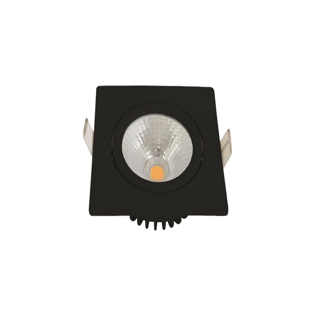 EM Electronics waterdichte inbouwspot vierkant zwart 5W 450lm 2700K incl DimDriver