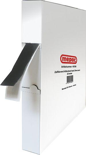 MEPAC zelfklevend klittenband haak 20mm zwart disp.box 25m (456700)