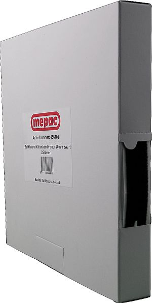 MEPAC zelfklevend klittenband velours 20mm zw. disp.box 25m (456701)