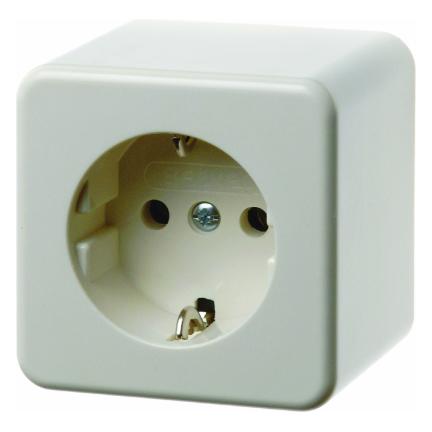 Hager Berker opbouw stopcontact 1 voudig met randaarde en bodem - crème wit (470040)