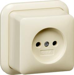 Gira wandcontactdoos opbouw zonder randaarde 2-polig + K/P - crème wit (047010)