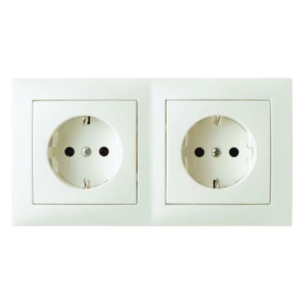 Hager Berker stopcontact 2 voudig met randaarde en afdekraam - S.1 crème wit glanzend (47208982)