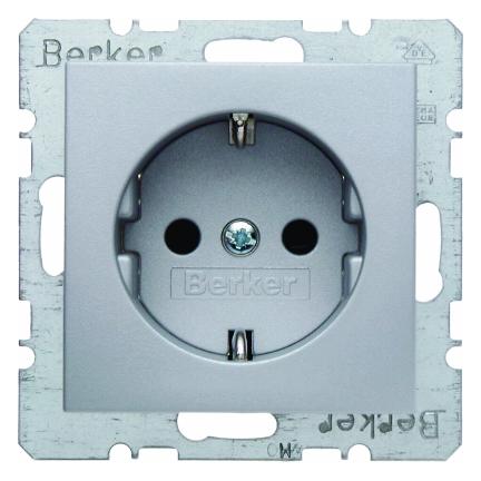 Berker wandcontactdoos met randaarde - S.1 aluminium (47231404)