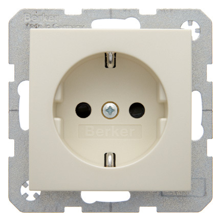 Hager Berker stopcontact kinderbeveiliging met randaarde 1 voudig - S.1 crème wit glanzend (47238982)