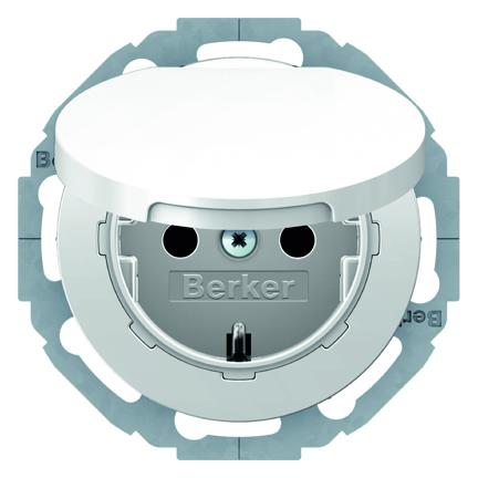 Hager Berker wandcontactdoos met randaarde en klapdeksel - R.1 polarwit (47442089)