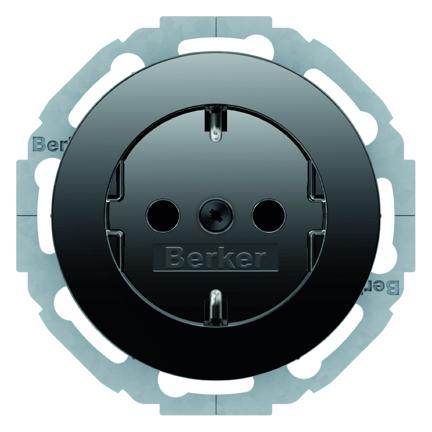 Hager Berker wandcontactdoos met randaarde en aanraakbeveiliging - R.1 zwart (47552045)