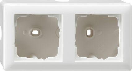 Gira opbouwbehuizing met afdekraam 2-voudig - zuiver wit glanzend (006203)