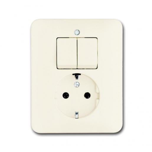 Busch-Jaeger combinatie tweedelige wip en contactdoos met beschermingscontact - SI creme (4310/5 EUJ-212-503)