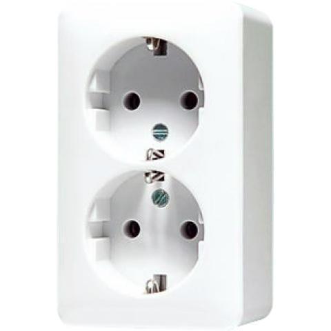 JUNG opbouw stopcontact met randaarde 2 voudig - opbouw crème wit (6022A)