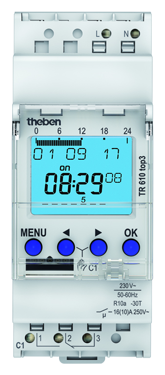 Theben digitale schakelklok weekprogramma, wisselcontact en bluetooth (TR 610 top3)