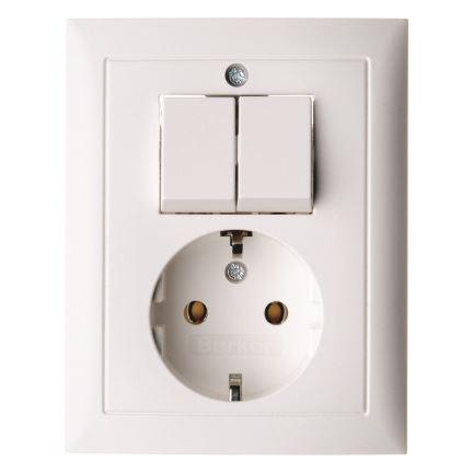 Berker combinatie tweedelige wip en contactdoos met beschermingscontact - S.1 polarwit (6143551949)
