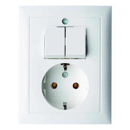 Berker combinatie tweedelige wip en contactdoos met beschermingscontact - S.1 polarwit (6143558949)