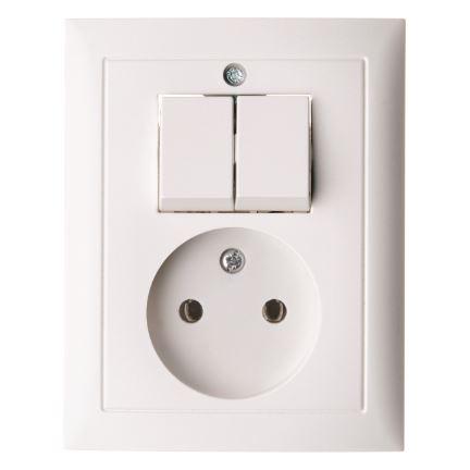 Berker combinatie tweedelige wip en contactdoos zonder beschermingscontact - S.1 polarwit (6143658989)