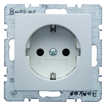 Hager Berker stopcontact met randaarde 1 voudig - S.1 polarwit glanzend (6147438989)