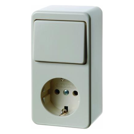 Hager Berker opbouw combinatie wisselschakelaar en stopcontact met randaarde - crème wit (61479640)