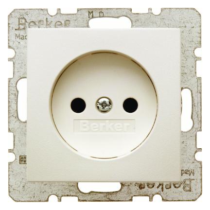 Hager Berker stopcontact zonder randaarde 1 voudig - S.1 crème wit glanzend (6167038982)