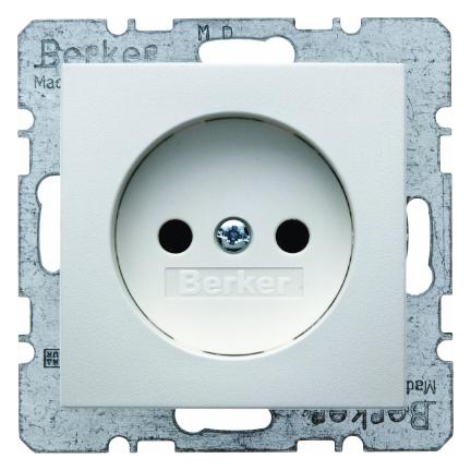 Hager Berker stopcontact zonder randaarde 1 voudig - S.1 polarwit glanzend (6167038989)