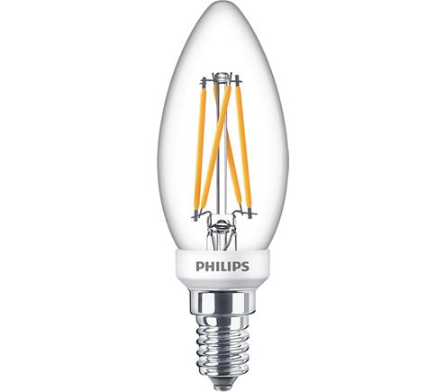 PHILIPS E14 ledlamp dimbaar kaars warmwit 2700K (3,5W vervangt 25W)
