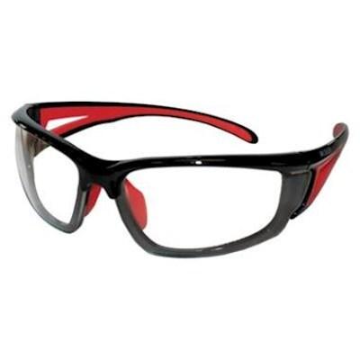 M-Safe Veiligheidsbril Ampato, heldere pc lens en zwart/rood montuur