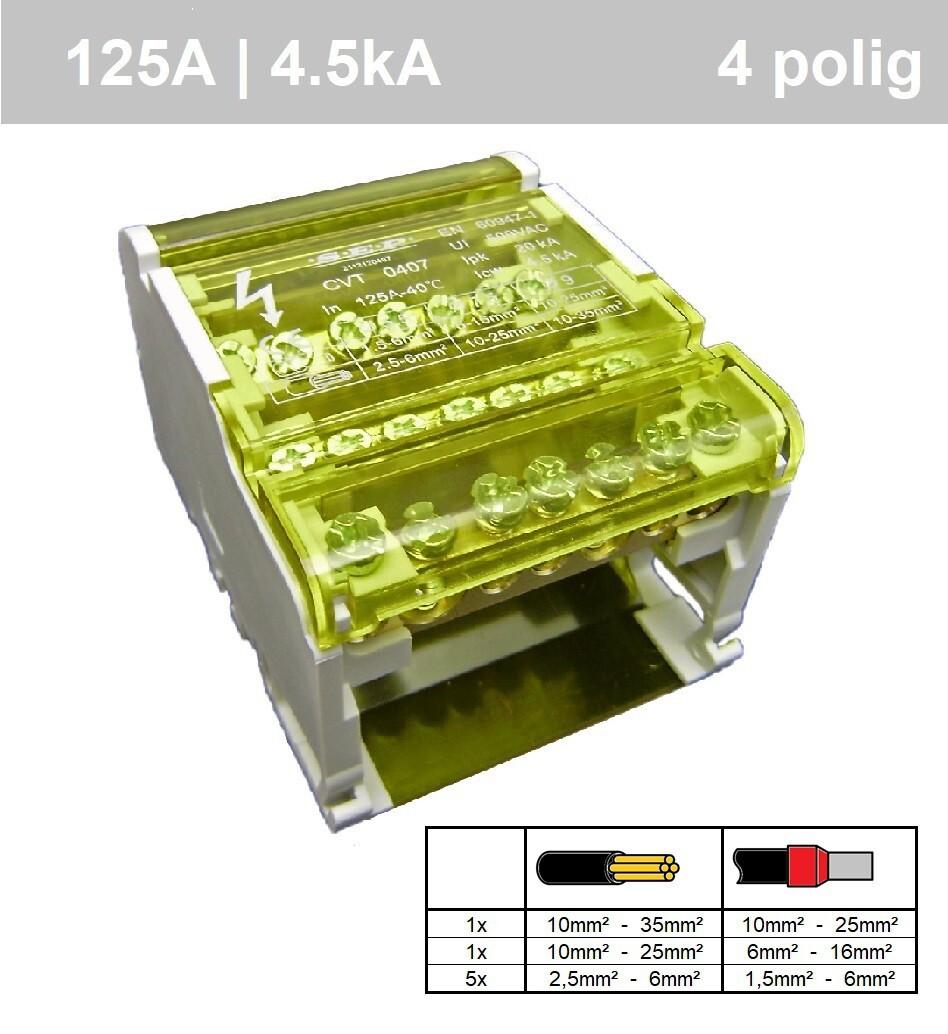 EMAT aansluitblok 125A (7 aansluitingen)