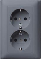 Gira dubbele wandcontactdoos met randaarde systeem 55 - antraciet