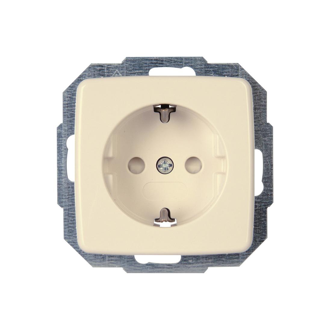 Kopp RIVO stopcontact inbouw met randaarde en kinderbeveiliging 1-voudig creme
