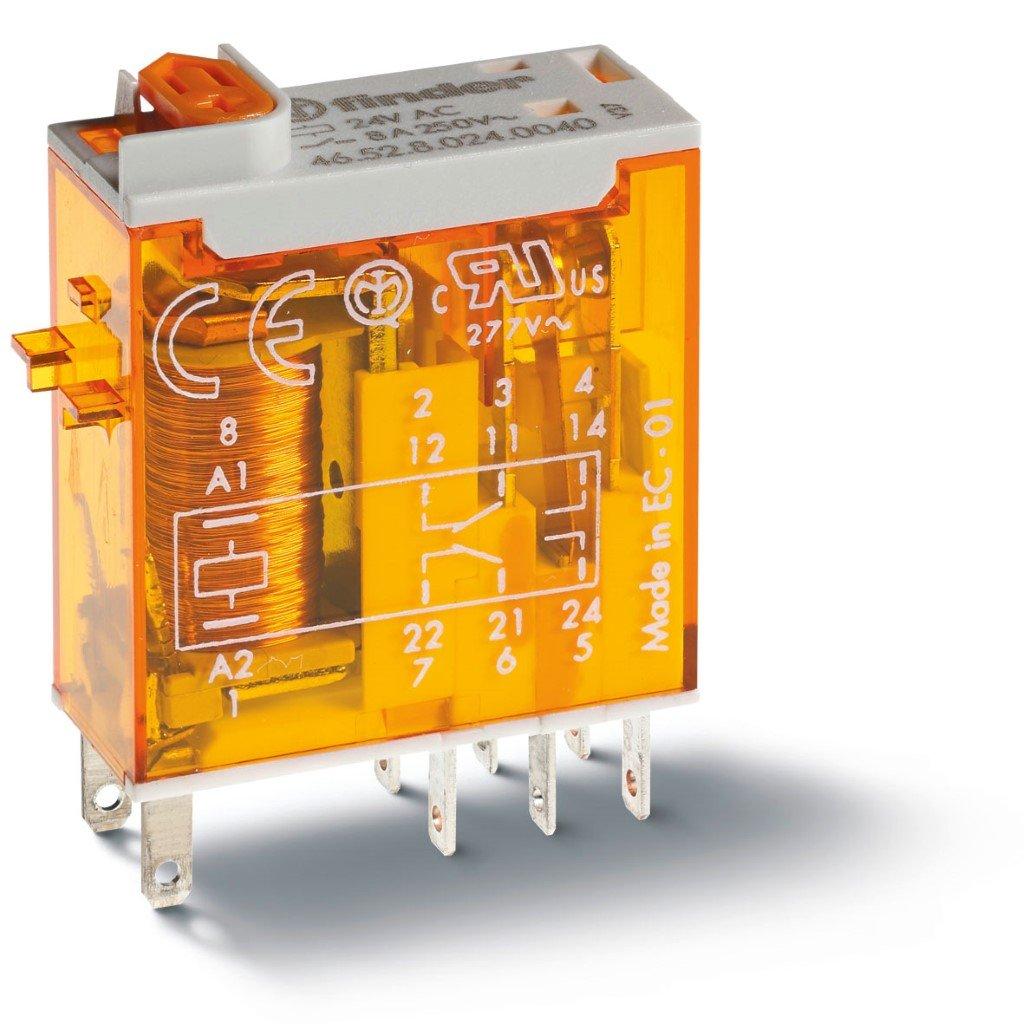 Finder relais 2 wisselcontacten 8A  24V AC (46.52.8.024.0054)