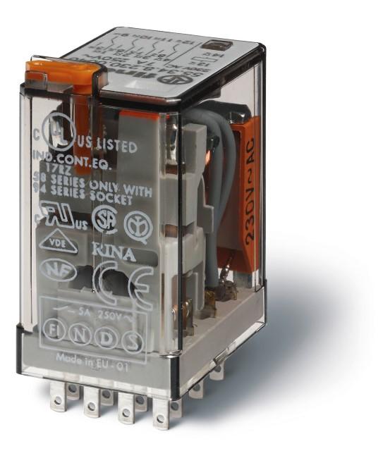Finder relais 4 wisselcontacten 7A 24V AC (55.34.8.024.0054)