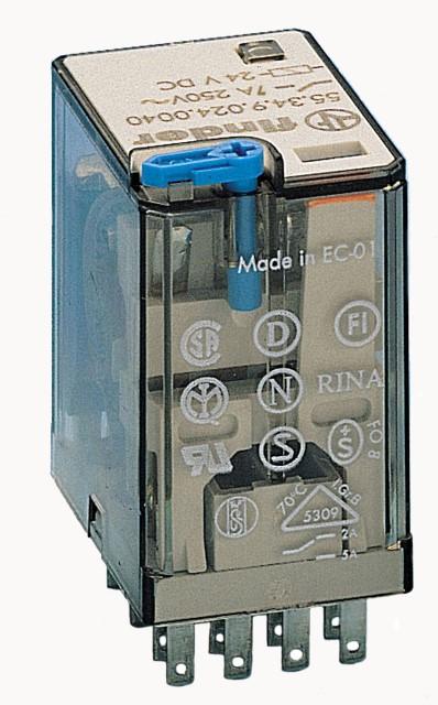 Finder relais 4 wisselcontacten 7A 24V DC (55.34.9.024.0094)