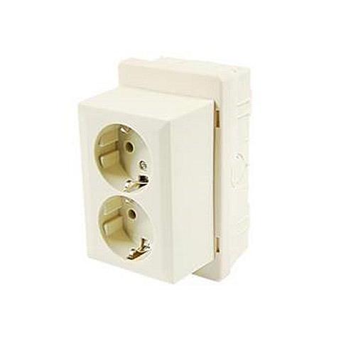 ABL universele lasdoos met stopcontacten wit 73x125mm²