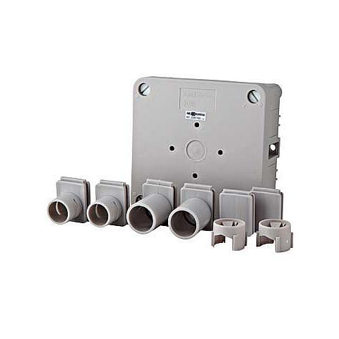 ABL aftakdoos onderbak met deksel en inzetstukken grijs - 100x100mm