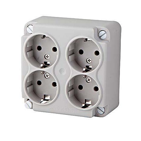 ABL kabeldoos deksel incl. 4-voudige bedrade contactdoos grijs