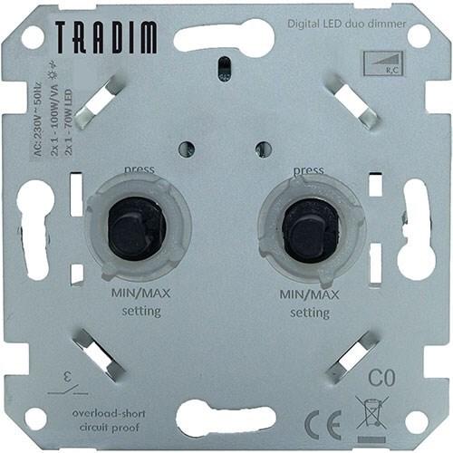 Tradim Digitale muurdimmer sokkel duodimmer 2x 1-100W/VA RC