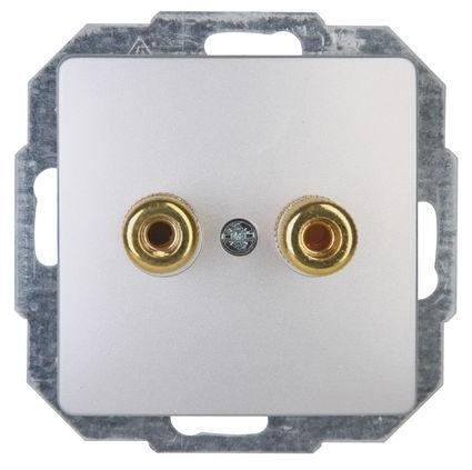 Kopp HK05 luidsprekerstopcontact inbouwzilver per 5