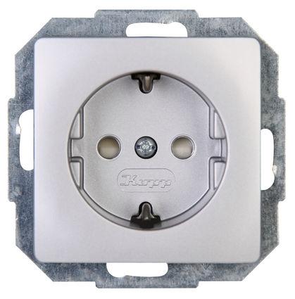Kopp HK05 wandcontactdoos inbouw randaarde 1-voudig - zilver