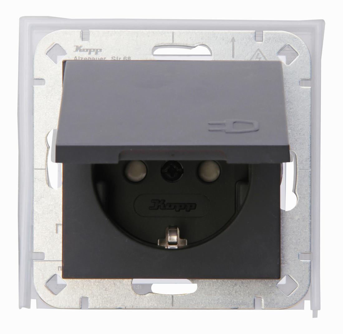 Kopp HK07 ip44 stopcontact met randaarde antraciet