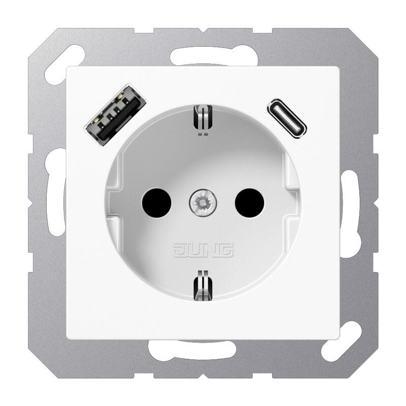 JUNG wandcontactdoos met 2x USB lader (1x type A en 1x type C, max 3A 5V) A en AS range - alpinewit RAL9016 glans (A1520-15CAWW)