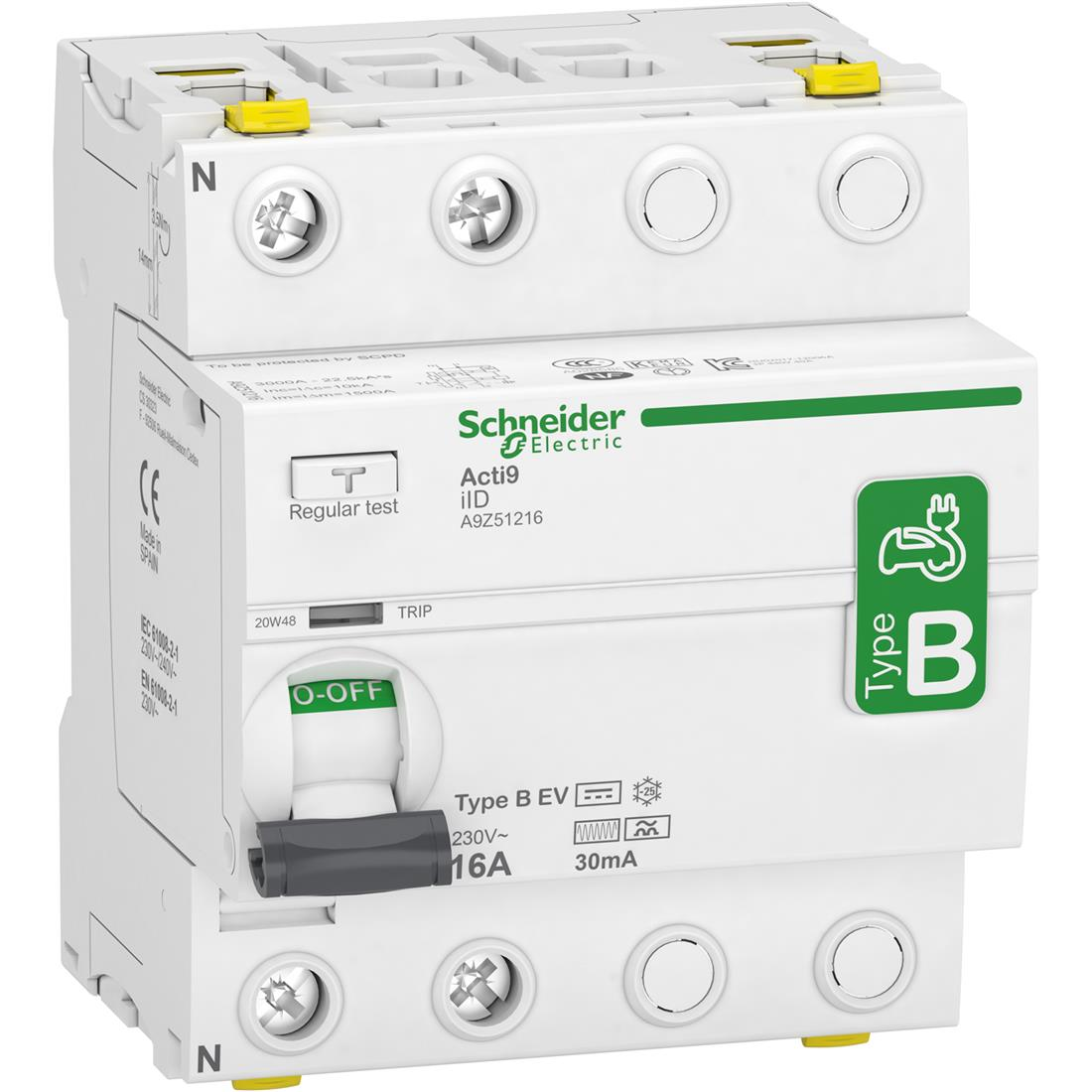 Schneider Electric aardlekschakelaar 2P 16A 30mA type B (A9Z51216)