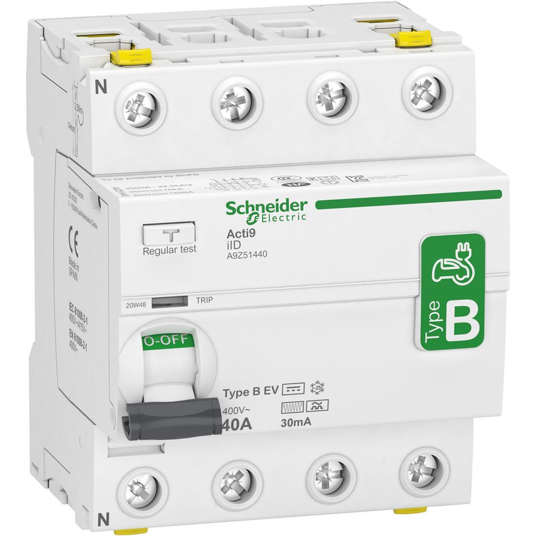 Schneider Electric aardlekschakelaar 4P 40A 30mA type B (A9Z51440)