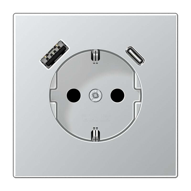 JUNG wandcontactdoos met 2x USB lader (1x type A en 1x type C, max 3A 5V) LS range - aluminium-kleur mat (AL1520-15CA-L)