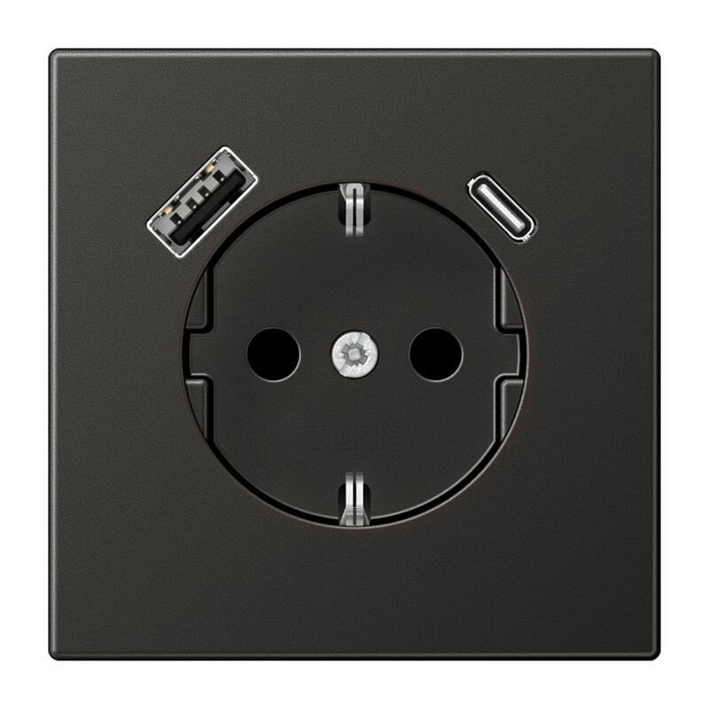 JUNG wandcontactdoos met 2x USB lader (1x type A en 1x type C, max 3A 5V) LS range - antraciet mat (AL1520-15CAAN-L)