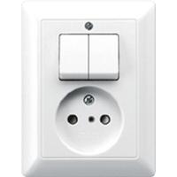 JUNG combinatie tweedelige wip en contactdoos zonder beschermingscontact - as500 alpine wit  (AS5545EUWW)