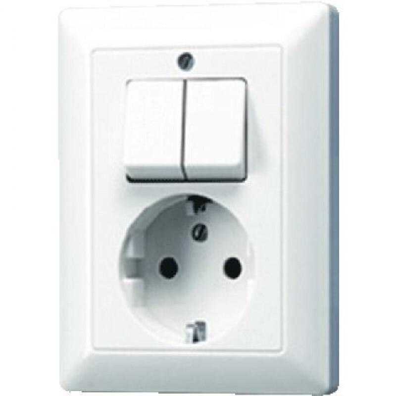 JUNG combinatie tweedelige wip en contactdoos met beschermingscontact - as500 alpine wit  (AS5575EUWW)