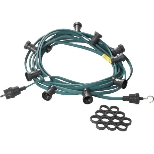 Jager-direkt Aansluitklare prikkabel 30 fittingen 2x1,5 mm2 20 m groen