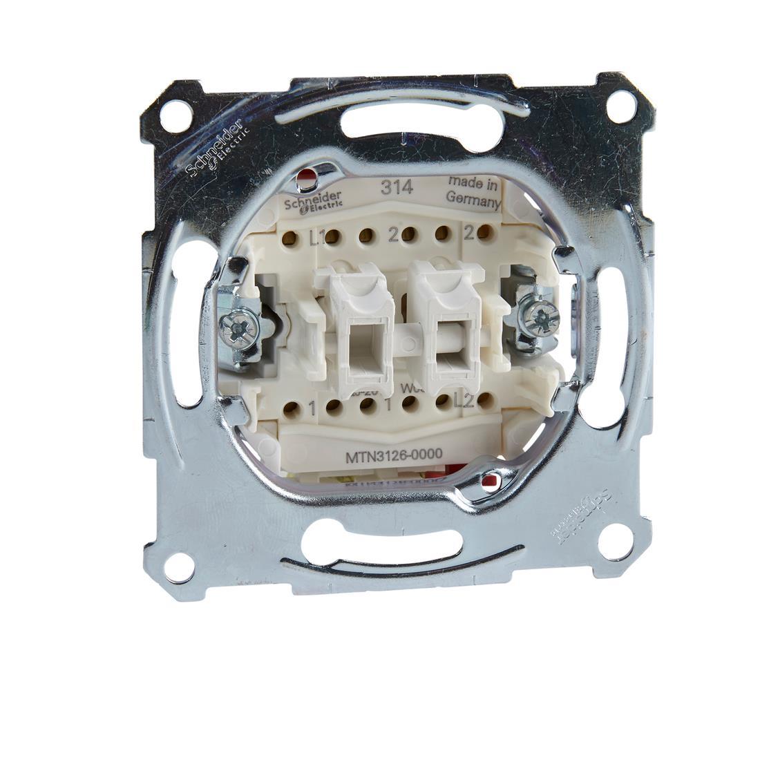 Schneider-Merten dubbele wisselschakelaarsokkel, 1-polig 10AX, AC 250 V met insteekklemmen (MTN3126-0000)