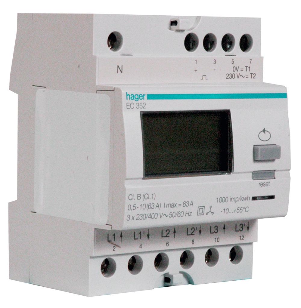 Hager EC352 HAG KWH 3F DIR.63A 2 TAR