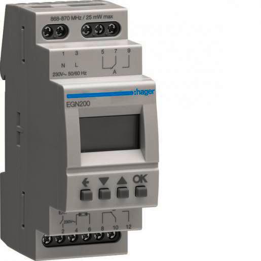 Hager Programmaklok digitaal, multifunctioneel, 2x wisselcontact, Bluetooth (EGN200)