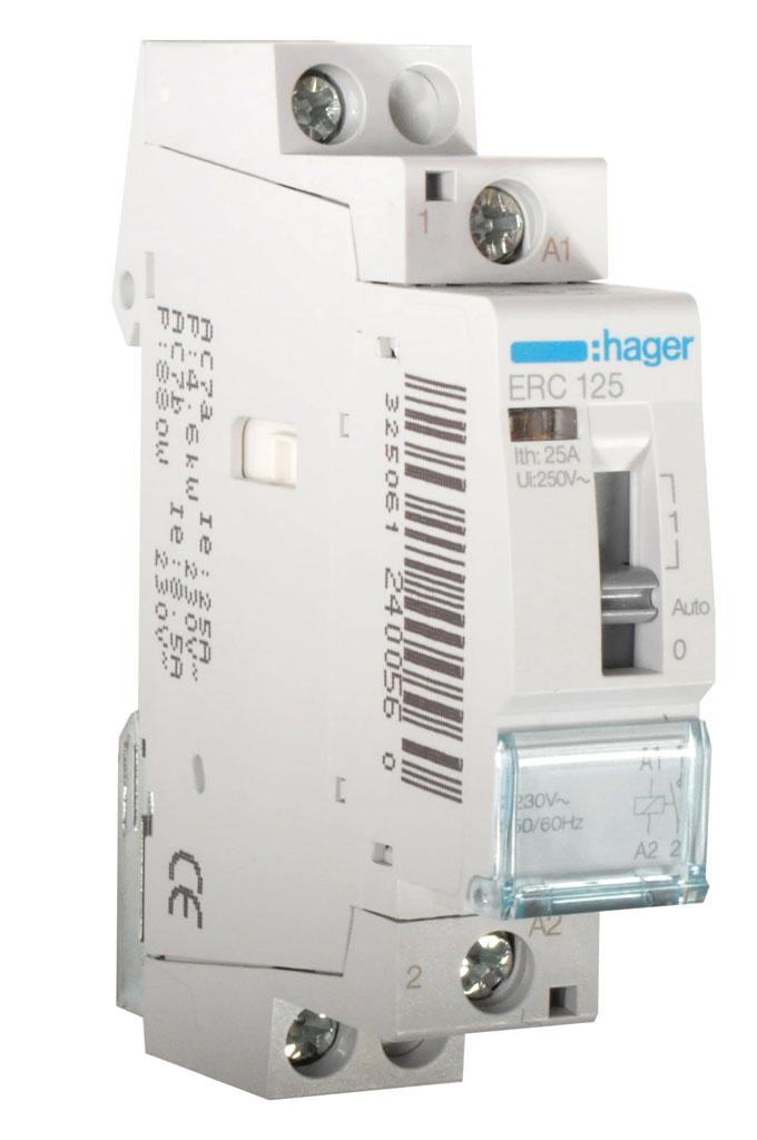Hager magneetschakelaar 230V 25A 1 maak en 0 verbreek (ERC125)